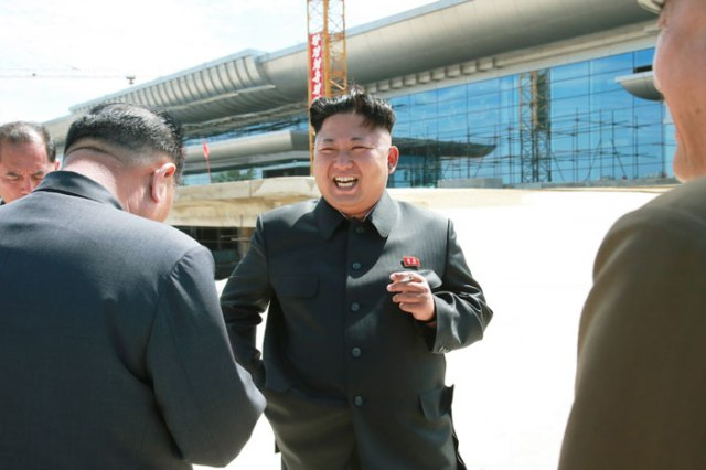 Kim Jong Un at site of new Pyongyang airport terminal. (DPRK official website)