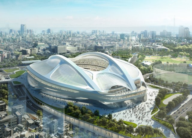 Olympic stadium by Zaha Hadid proposed for, now rejected by, Japan. (NYT)