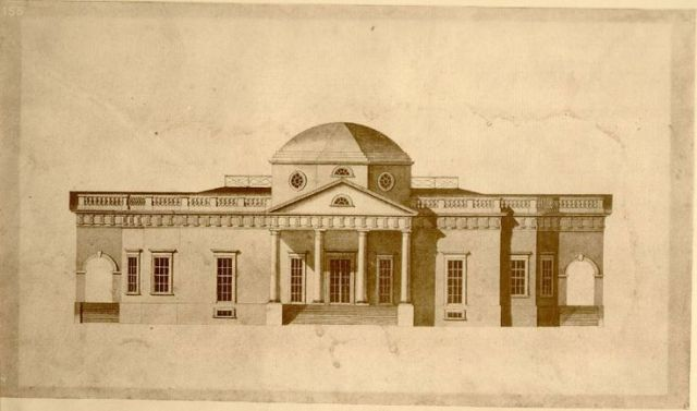 Thomas Jefferson's Monticello, drawn in 1803 by Robert Mills. (pinterest.com)