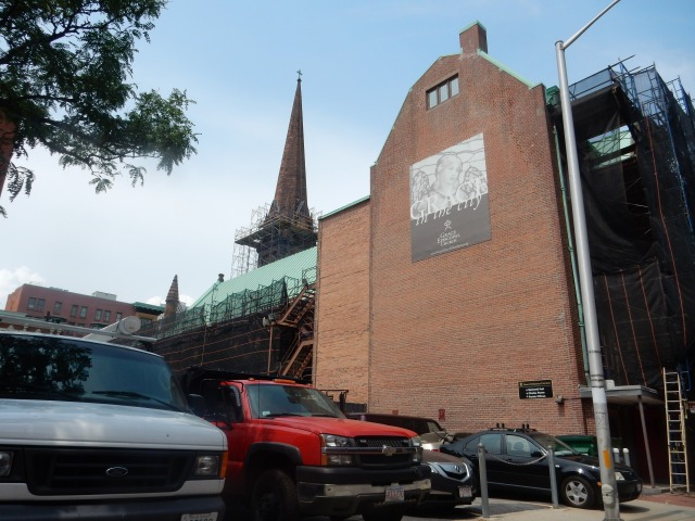 Rear of Grace Church today, amid restoration. (Photo by David Brussat)