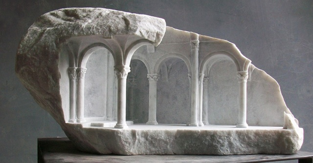 Sculpture of architecture cut from stone by Matthew Simmonds.