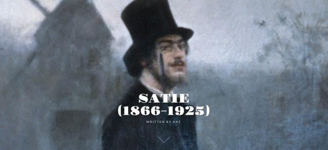 Screenshot of illustration atop Kaz's post on Eric Satie.