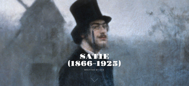 Screenshot of illustration atop Kaz's post on Eric Satie.