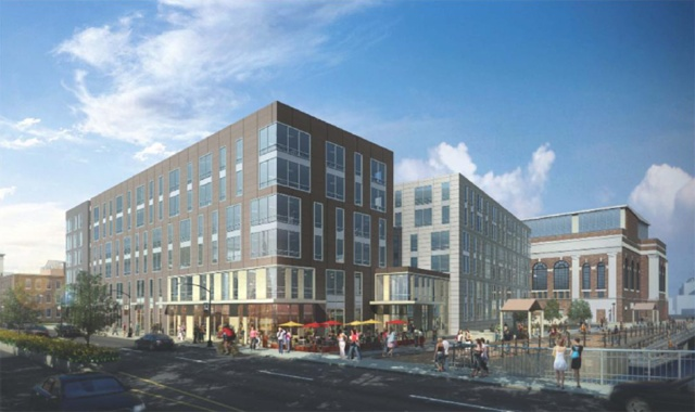 Dormitory, garage and nursing school, as envisioned, at South Street Landing project.. (gcpvd.org)