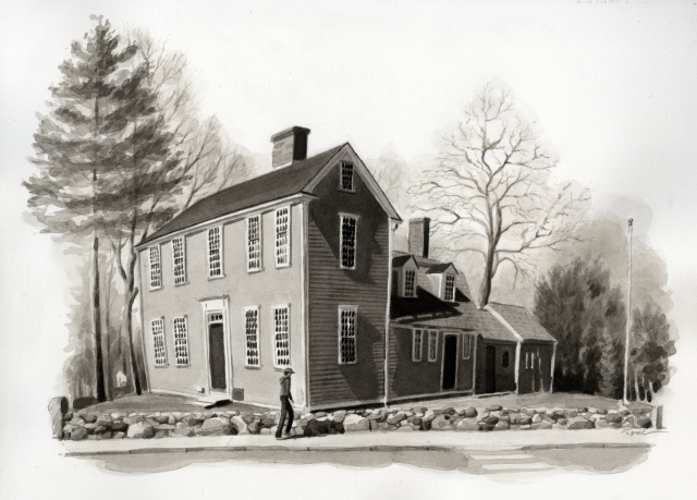 House of Jonas Clark, hideout of Samuel Adams, in Lexington, Mass. (paulreversriderevisited.wordpress.com)