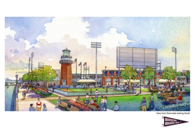 Rendering of linear park between stadium and river bank. (PawSox)