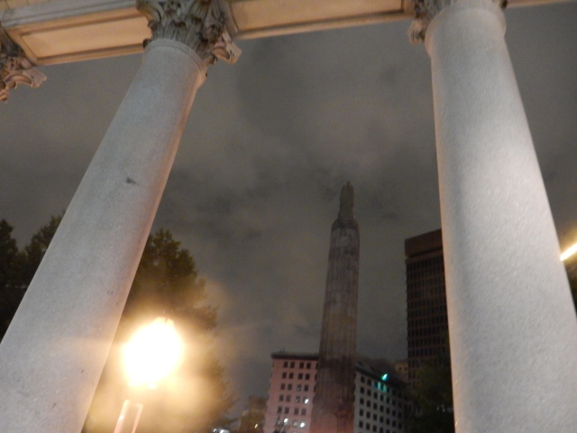 Vew from under colonnade of Providence County Superior Courthouse. (Photo by David Brussat)