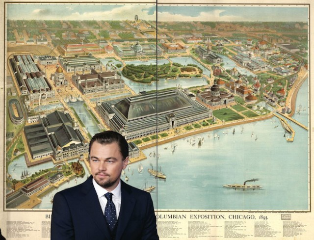 Leonardo DiCaprio stands before a bird's-eye view of the White City. (Curbed)