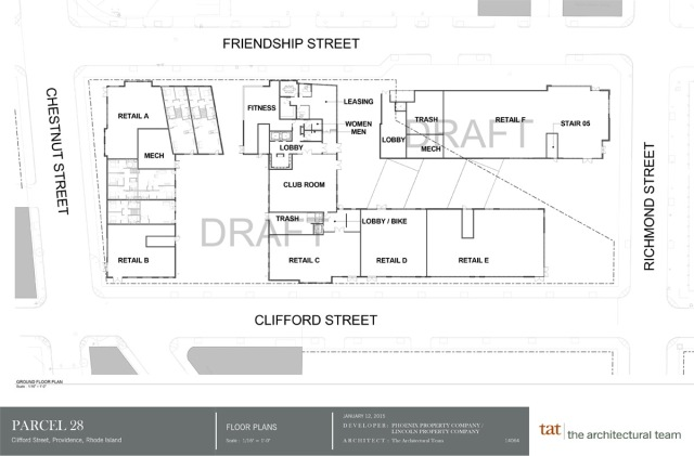 Plan of two private dorms on Parcel 28. (gcpvd.org)