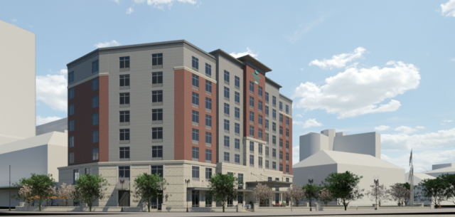 Rendering of earlier design of hotel, as seen from Memorial Boulevard. (First Bristol)