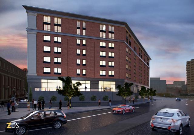 Rendering of hotel as seen from across Woonasquatucket River. (ZDS)