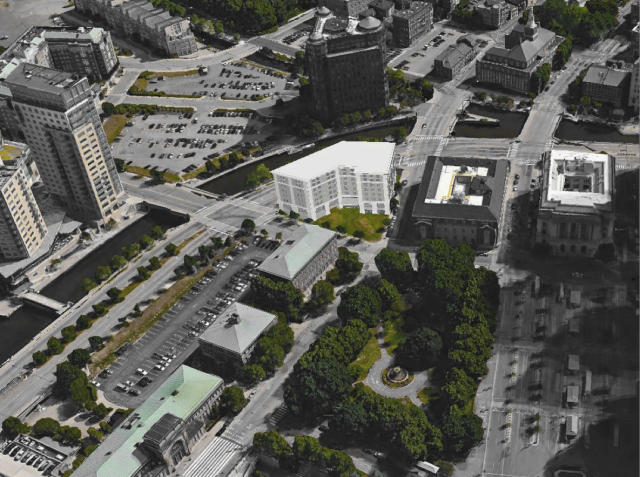 Rendering of hotel as seen from above Burnside Park. (ZDS)