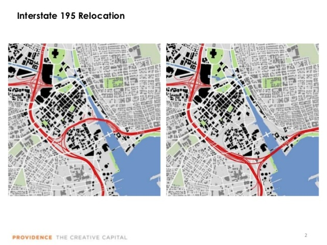 Providence, with maps of before and after Route 195 relocation. (slideshare.net)