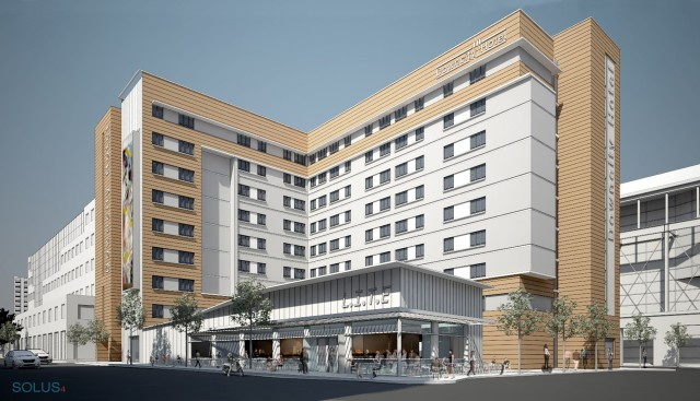 Initial design for proposed downtown hotel. (Procaccianti Group)