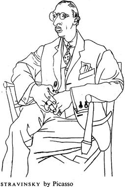 Igor Stravinsky, drawn by Picasso. (Wikipedia)
