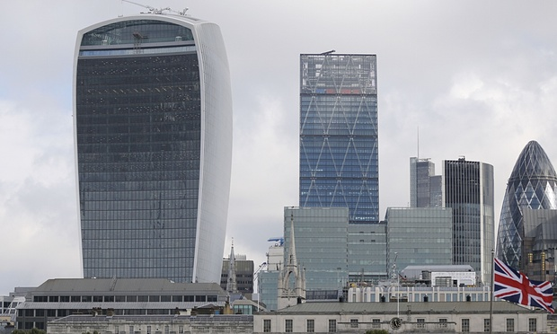 Walkie-Talkie poses with other abominations. The Shard is not pictured. (Guardian)