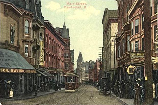 Postcard of Main Street in old downtown Pawtucket. (oldstratforduponavon.com)