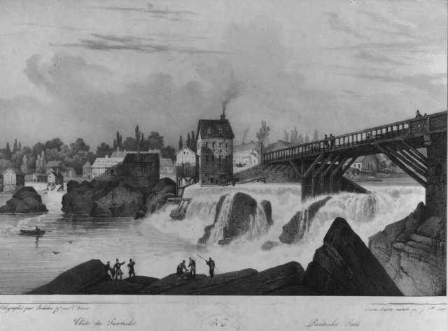 Old lithograph of Pawtucket Falls, still visible under Exchange Street Bridge. (bucklinsociety.net)