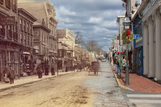 Two sides of Thames Street in two different eras. {From a February exhibit at NHS)