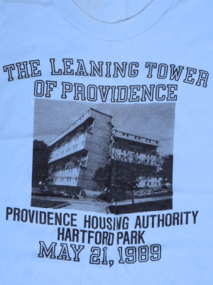 Tee shirt from demo of Hartford Park tower, in Providence. (Brussat archives)