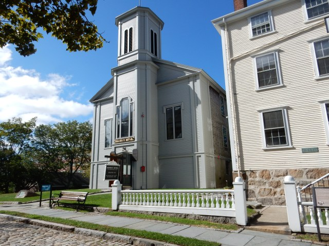 Seaman's Bethel Chapel, most famous building in New Bedford, harking to Moby-Dick. First picture below is view of Whaling Museum's Bourne Building from the chapel lawn. (Photos by David Brussat)