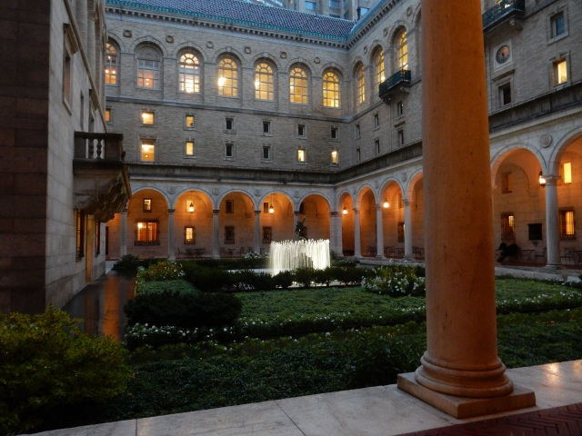 The courtyard at the Boston Public Library, designed by Charles Follen McKim. (Photos and video by David Brussat)