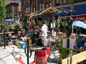 Parklet near Peerless Building on Park(ing) Day. (downtownprovidence.com)