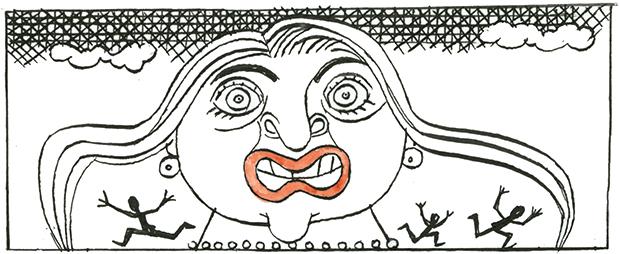 Sketch of Zaha Hadid. Artist unattributed. (Spectator)