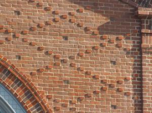 Nelson Building's diapered brickwork. (David Brussat)