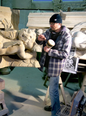 Carving stone for Berliner Schloss sculpture. (Extrablatt)
