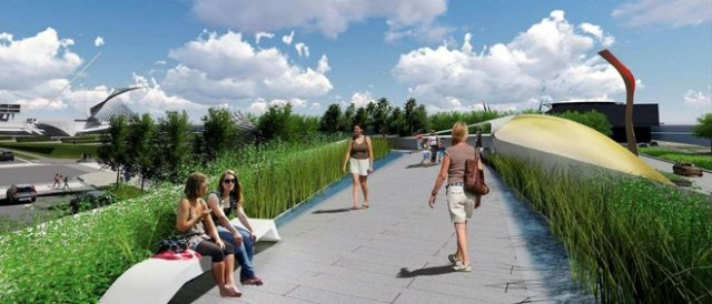 Rendering of proposed Lakefront Gateway Plaza, in Milwaukee. (Journal-Sentinel)