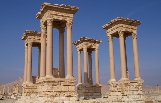 Tetrapylons in Palmyra, during visit by Clay Fulkerson.