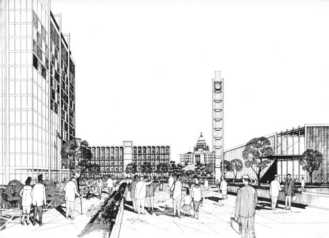 Proposed redesign of Kennedy Plaza in Downtown Providence 1970 Plan.