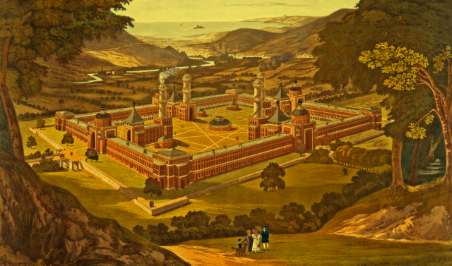 1838 version of Robert Owens's New Harmony utopia with overlay of Mughal forms. (courtold.org.uk)