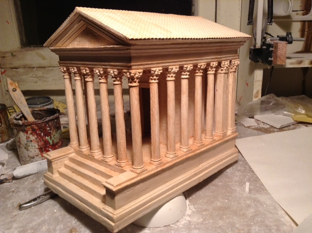 Clay Fulkerson's model of the Temple of Augustus and Livia, in Vienne, France. (All photos except library by Clay Fulkerson)